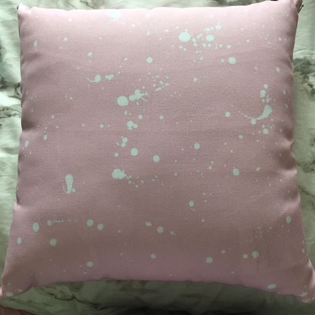 Pink And White Paint Splatter Pillow