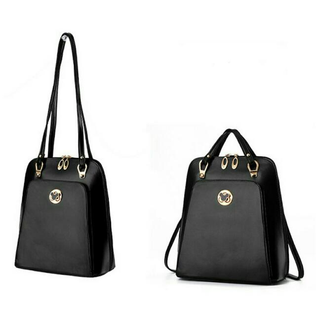PU Leather Double Straps Backpack[2WAY]