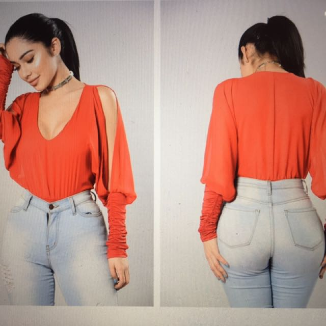 Red Fashion Nova Blouse