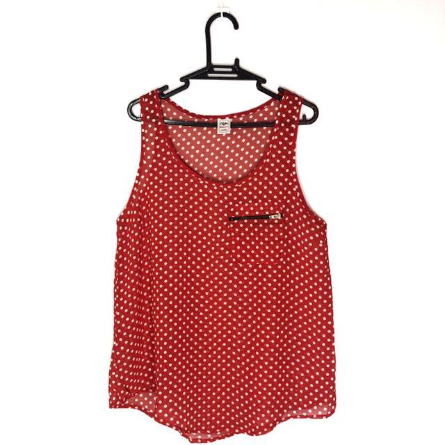 Red Polka Dot Sheer Top