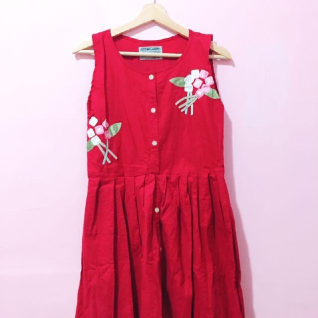 古著❤️SalaMola購入古著花花紅色洋裝