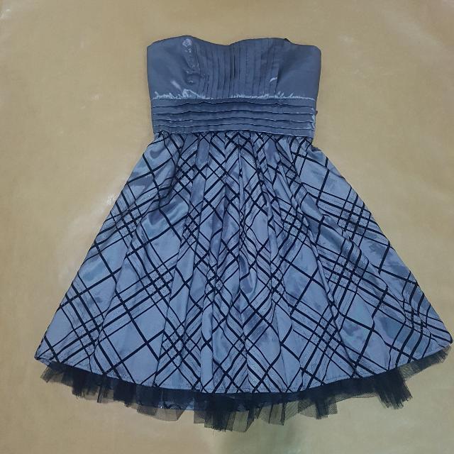 Silver Checkered Tube Dress