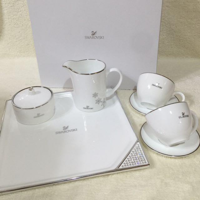 全新Swarovski施華洛世奇 時尚璀璨水晶咖啡杯盤組