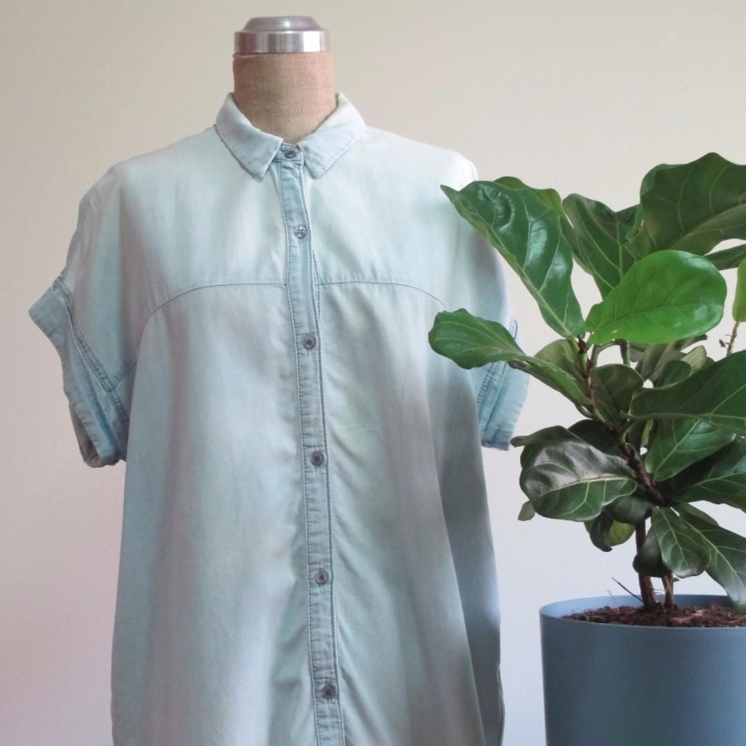 $35 TopShop Short-Sleeved Denim Shirt