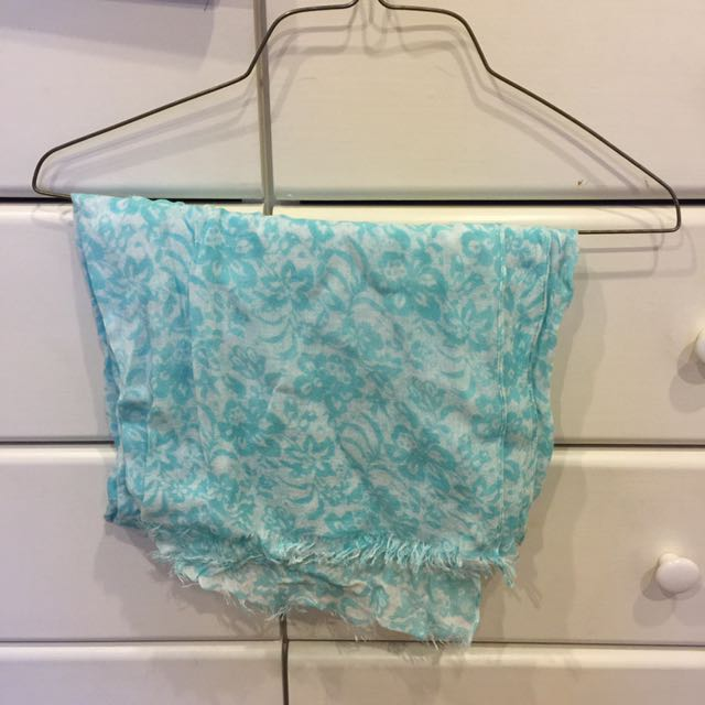 Turquoise Floral Scarf