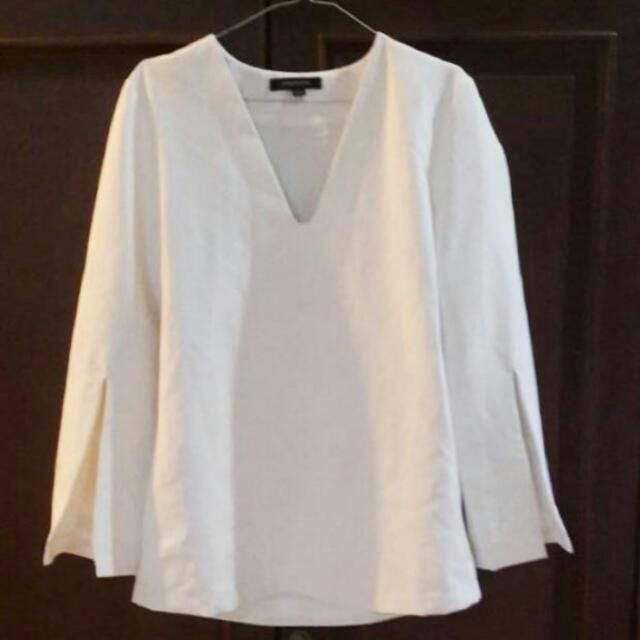 White Long Slitted Sleeve Top