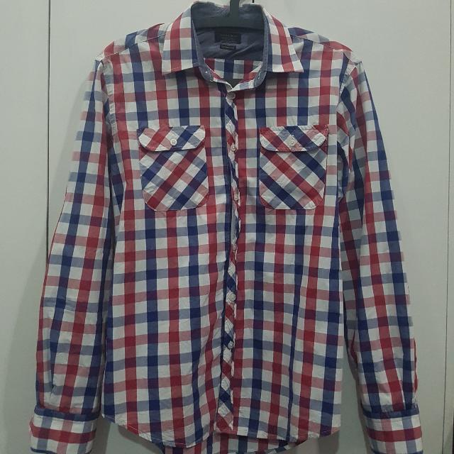 ZARA Checkered Long Sleeved Polo