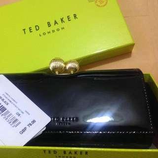 英國正版入 全新TED BAKER 黑色漆皮多格長銀包