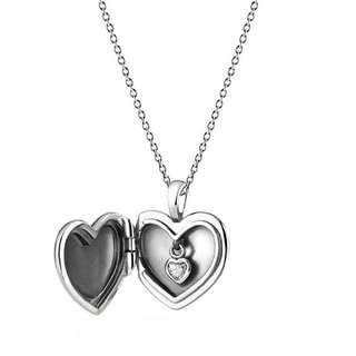 Love Locket Pendant Necklace, Clear CZ Item No. 390355CZ