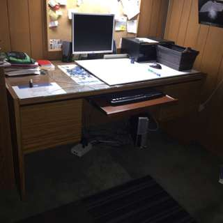 Desk With Keyboard Tray.