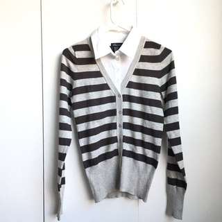 Size S-M Fake 2 Layers White Shirt Collar Dark Grey And Light Grey Stripe Office Button Up Cardigan Shirt