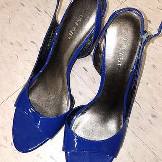 Blue Short Heels By Nine West Summer Shoes For Women Size 9