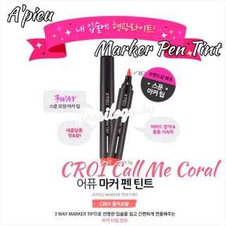 INSTOCK A'pieu Marker Pen Tint CALL ME CORAL / A'pieu Tint Pen In CR01 Call Me Coral