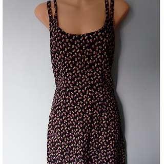 Vintage petite rose dress with cross back
