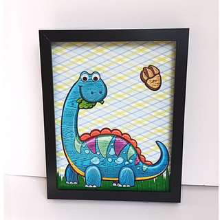 Handmade Boy Dinosaur Wall Room Decor. Blue Dinosaur Nursery Room Decor