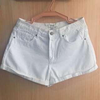 F21 High Rise Cuffed Shorts (White)