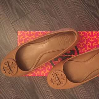 Tory Burch Brown Leather Ballet Flats