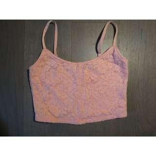 Pink Lace Crop Top By Garage