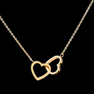 J&J Gold Twin Heart Necklace