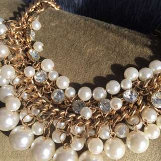 Pearls, Diamonds And Gold Necklace