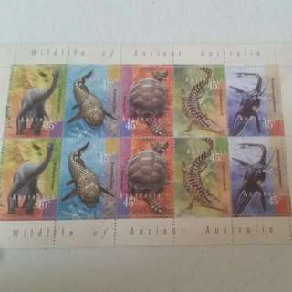 Mini Sheet Of 10 Stamps Wildlife Of Ancient Australia