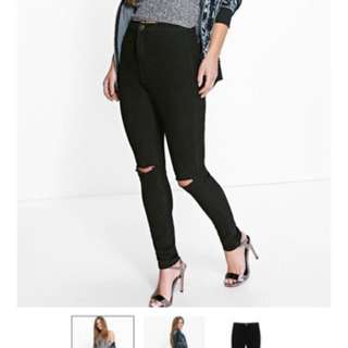 Black Petite High Waisted Knee Slit Skinny Jeans