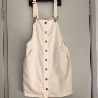 White Denim overalls Dress