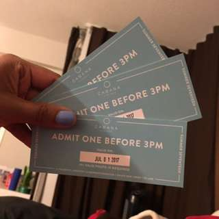 Three Tickets To Cabana Pool Bar For July 1 Before 3 Pm