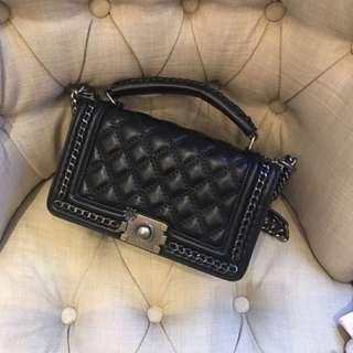 Black Sling Bag With Handle