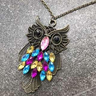 Kalung Owl Gem Vintage