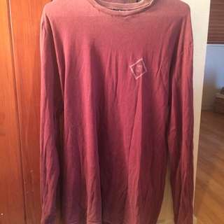 Red Long Line, Long Sleeved T-Shirt