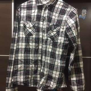 Giordano 黑白格紋襯衫
