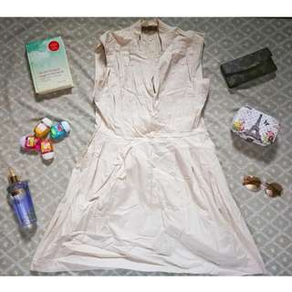 Plains And Prints Beige Dress