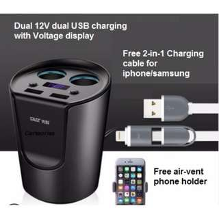 *Price reduced* Branded Multifunction Car USB charger Cup With Dual 12V Outlet And Voltage Display
