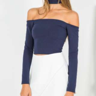Long Sleeve Navy Crop with Choker