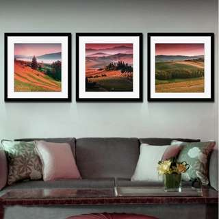 SELLING BELOW COST!! DEFECT CANVAS FRAME - Sunset Field in Italy Tu (Now $25) - UP $85