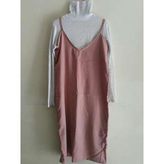 FREE ONGKIR Peach Midi Dress with Turtle Neck and Roll Hand Shirt