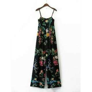 歐美時尚休閒渡假熱帶雨林都會叢林日系花卉繽紛鮮豔吊帶連身長褲