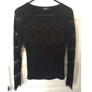 Black Valleygirl Eyelash Lace Long Sleeve Top Size 8