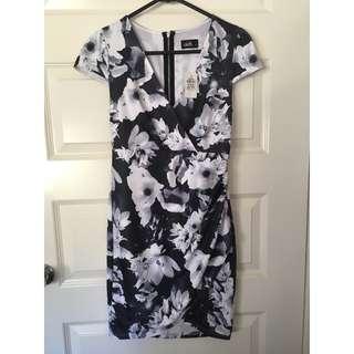 Brand New Dotti Size 8 Floral Wrap Dress Black & White