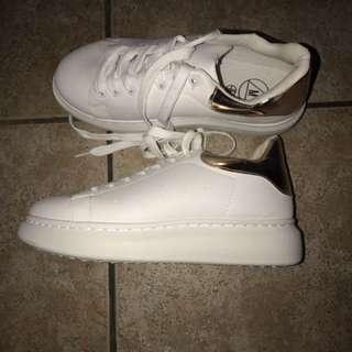 White/rose Gold Platform Sneakers