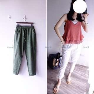 轉賣chan🎄韓 小鬆度前反後縮褲管棉麻褲--草綠