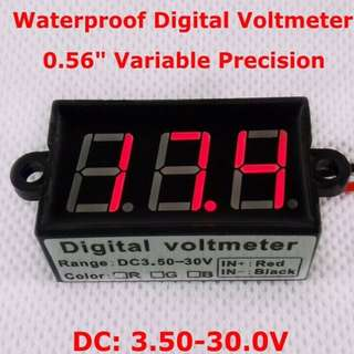 "High Quality 0.56""  Waterproof LED Digital Voltmeter tester variable precision 3.50-30.0V"
