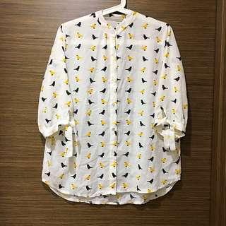 夏日風情🌞滿版小鳥文青雪紡衫