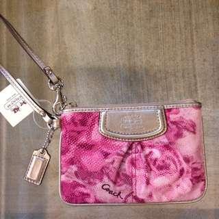 Coach 47595 紫粉色玫瑰🌹手拿包✅