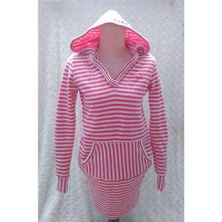 Pink & White Stripes Woman Hoodie