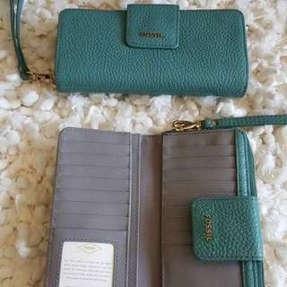 Fossil Madison Tap Zio Authentic Wallet Turquoise
