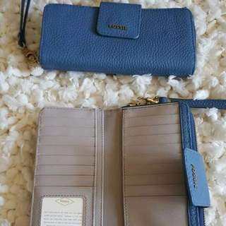 Fossil Madison Tap Zip Authentic Wallet Blue