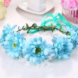 波希米亞仿真花花圈(藍)(不含草帽)