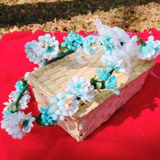 優雅韓風森林女花圈(水藍)(不含草帽)